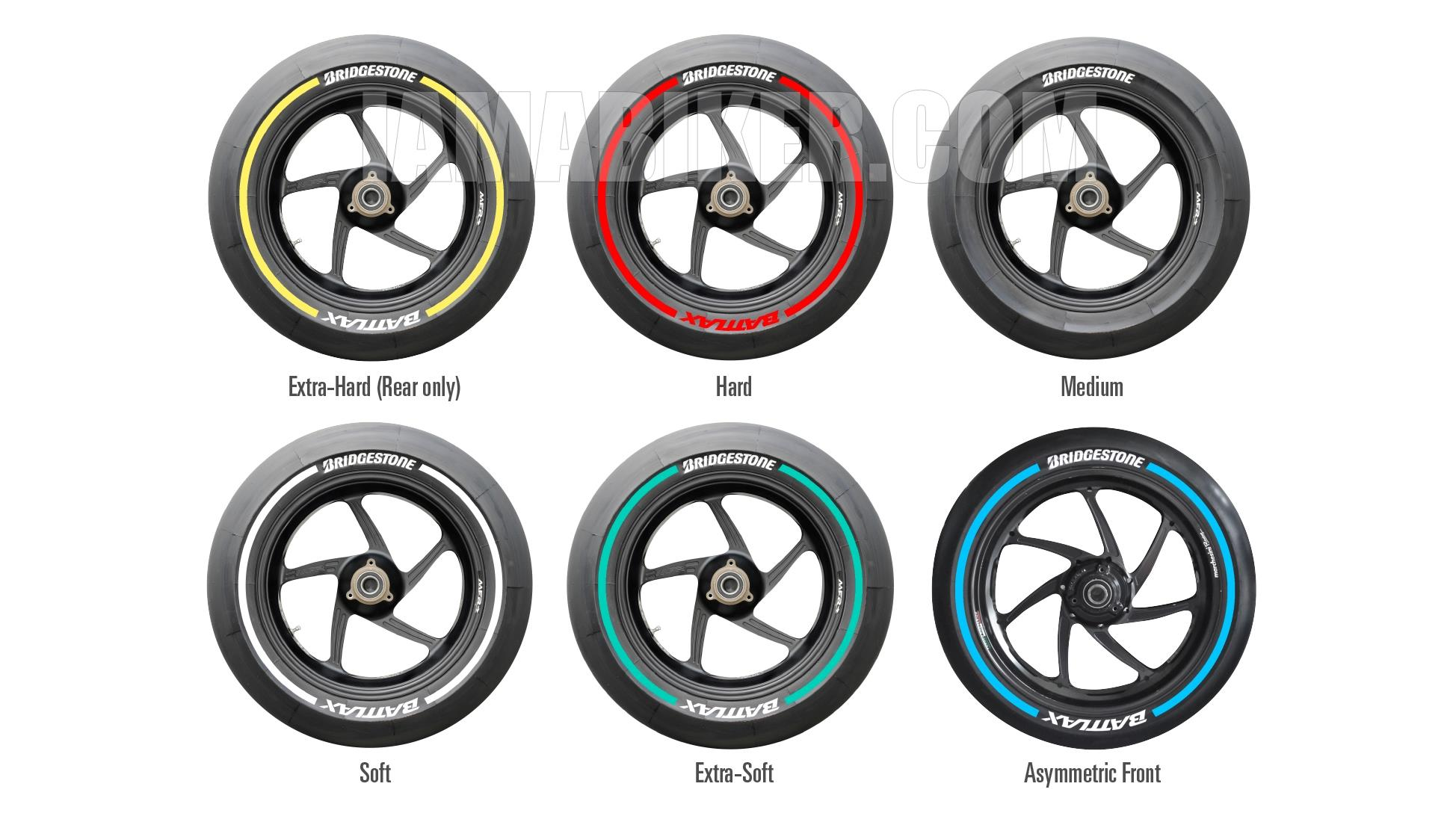 Bridgestone slick tyre colour marking meaining 2015 MotoGP season