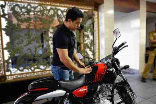 Aamir Khan with his custom Bajaj V15