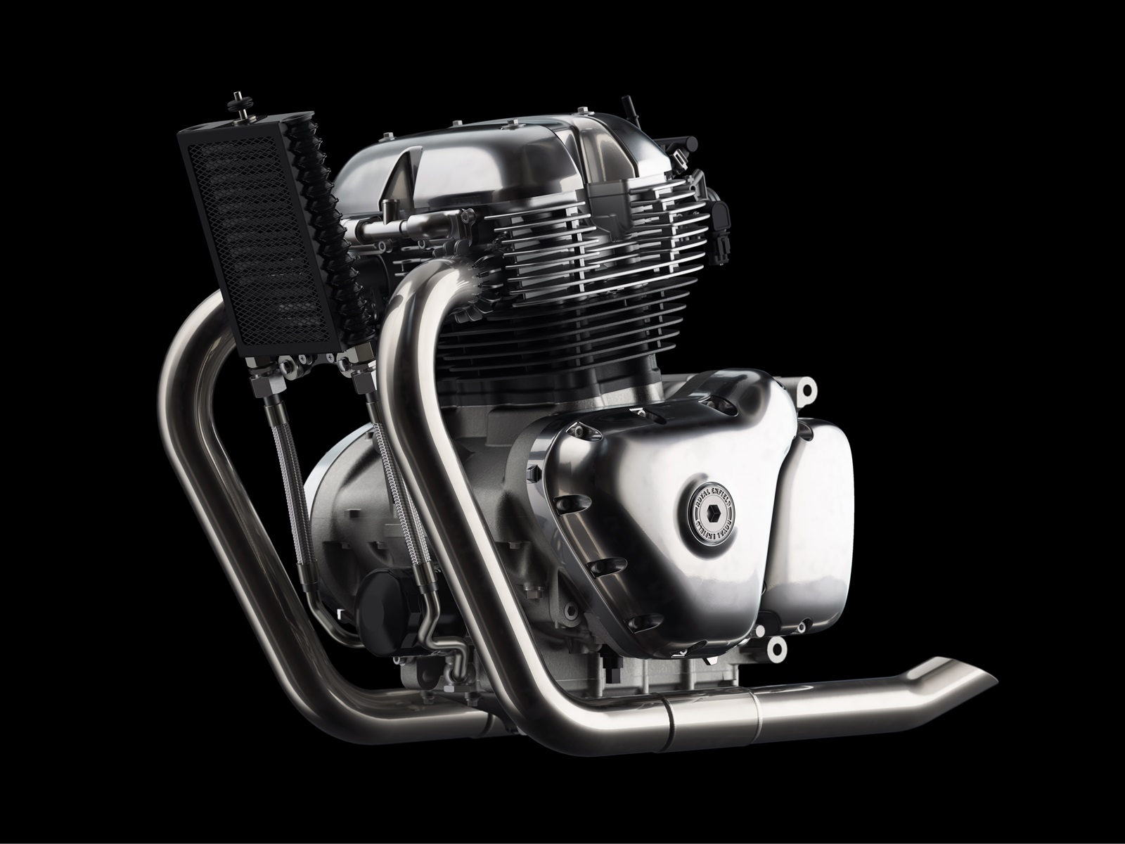 Royal Enfield 650cc Twin Engine + Ghosted Internals LHS view