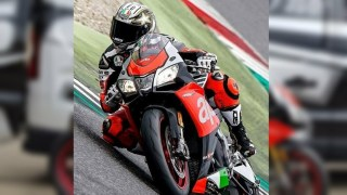 Loris Capirossi takes the Aprilia RSV4 RF out for a shakedown