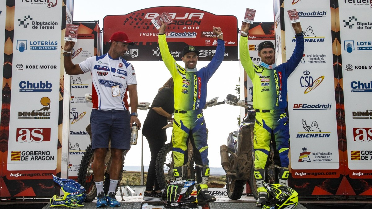 Michael Metge of Sherco TVS Rally Team wins the Baja Aragon
