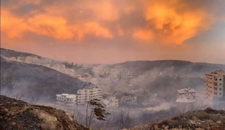آلاف المساحات الخضراء في محافظات حمص واللاذقية وطرطوس التهمتها النيران (صور متداولة عبر مواقع التواصل الاجتماعي).