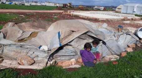 الرياح القوية تزيد معاناة نازحي إدلب وتتسبب بسقوط جرحى وهدم خيام