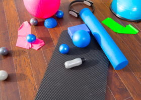 Aerobic Pilates stuff like mat balls roller magic ring rubber ba