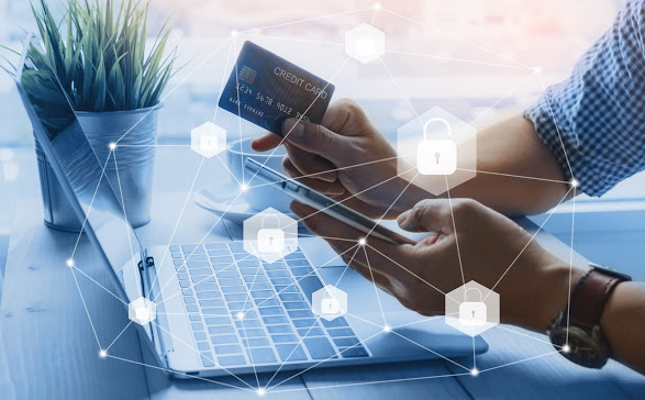 Credit card data security unlock payment shopping online on smartphone