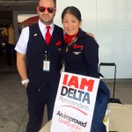 Delta Flight Attendant Adam Denissoff and LOD Masayo Tyner work the IAM Delta campaign in Atlanta.
