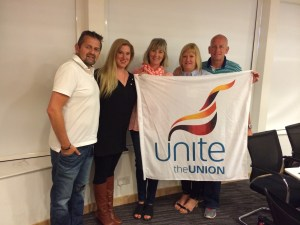 Unite, ITF affiliate, was on hand to show support for the IAM Delta campaign. (From left to right: John Pigotti, British Airways Flight Attendant; Julianna Helminski, Delta Air Lines Flight Attendant; Sue Kimber, Thompson Airways Branch Chair; Ashley Hawkins, Virgin Atlantic Reps Committee; Gaynor Worrell, Virgin Atlantic Reps Committee.