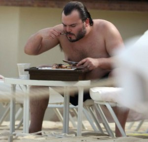Charlie eating at the pool