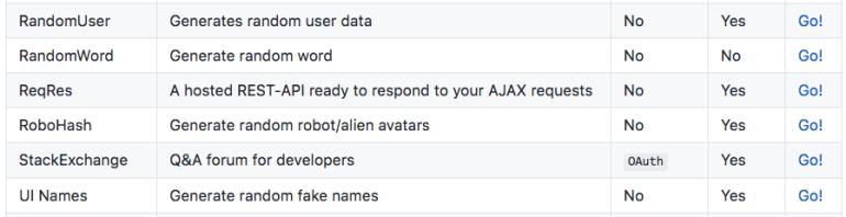 Public API's for web development screenshot