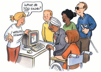 Illustration from the DRC Easy Read Summary of the report. Depicts web designer asking group of elderly and disabled persons, 'What do you think?' © Copyright DRC.