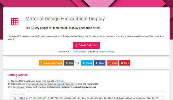 Material design hierarchical display - 15 flashy jQuery plugins