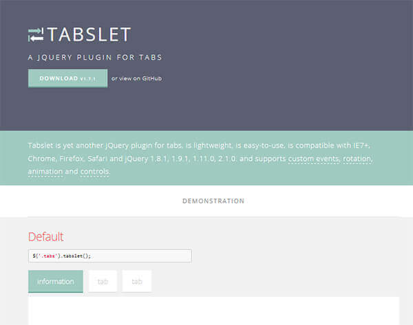 Tabslet - 15 flashy jQuery plugins