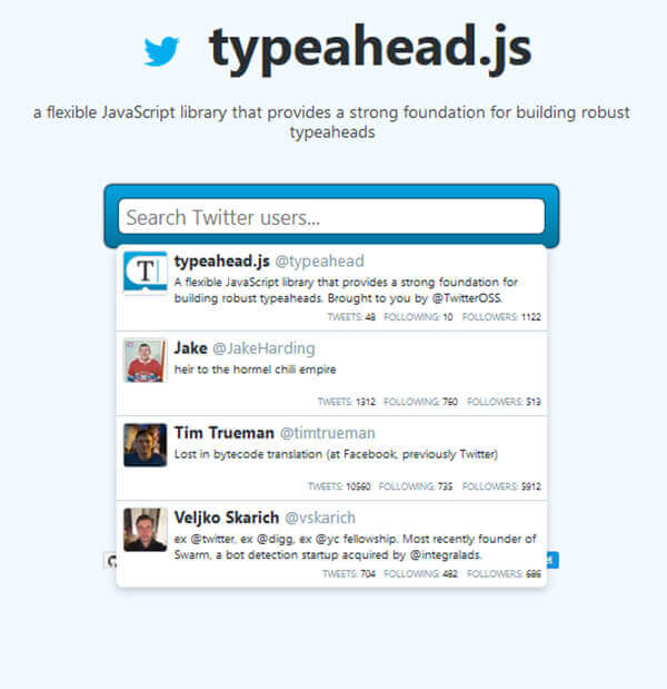 Typeahead - 15 flashy jQuery plugins