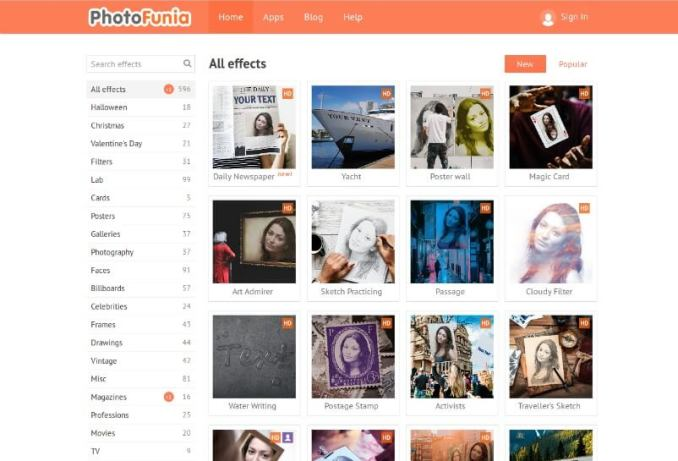 photofunia - Create online photos of any software, in free