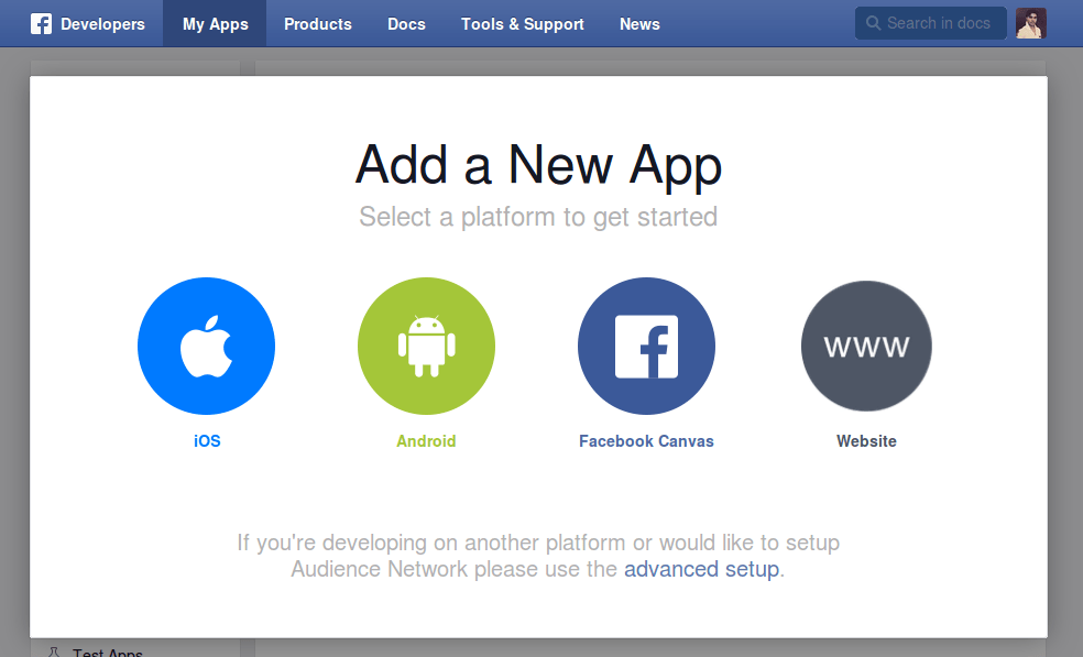 Login with facebook using facebook javascript sdk now youll see multiple options you can select them as per your need but this time i am choosing website because i am creating login with facebook feature stopboris Image collections