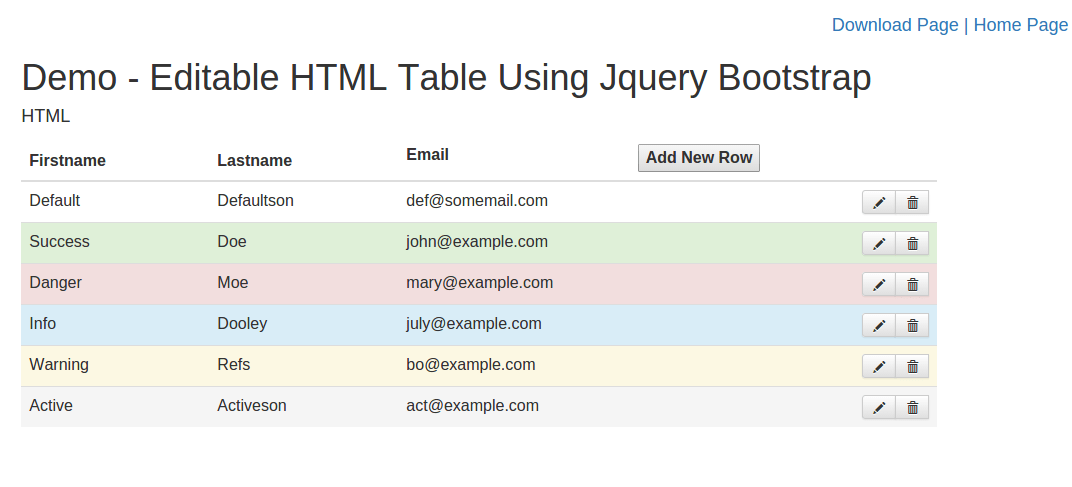 Create editable html table using jquery bootstrap with add for Table using html