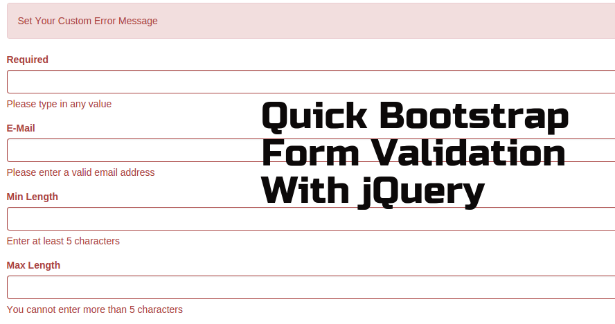 Quick Bootstrap Form Validation With Jquery Validatorjs Plugin