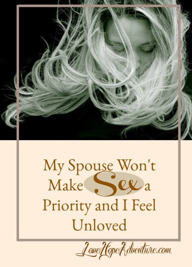 I had a reader write in and share with me that they wish their spouse would make sex more of a priority. In fact, the lack of priority is causing them to feel unloved. If you are in that place, I wrote this article just for you. Hop on over to my sister site, Love Hope Adventure to listen in to what I have to say or read my response.