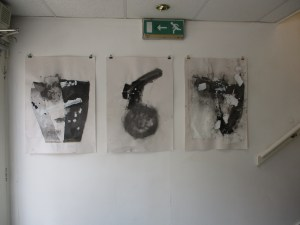 Three Collage Drawings by the door