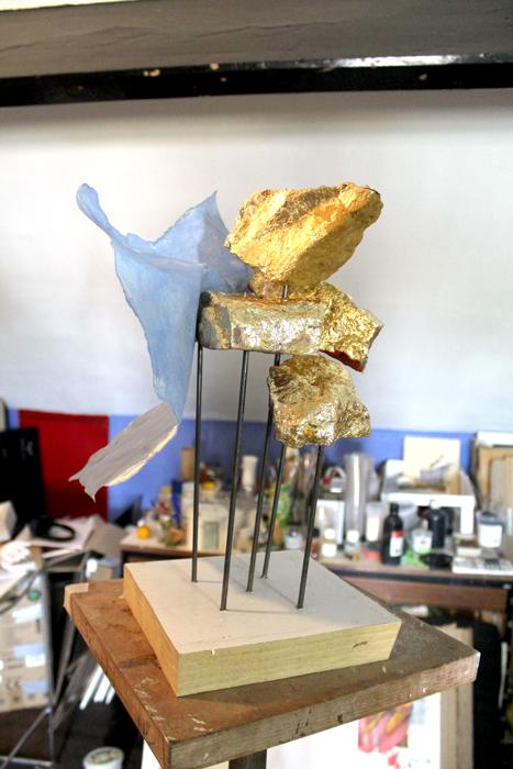 "'Balby Garden No5 (June 2020)' plaster, steel rod, paper; 1'x1'x1'6"" approx."