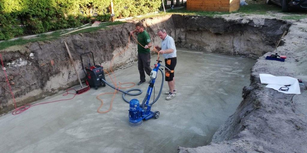 Styropor Pool selber bauen Bodenplatte