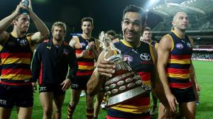 Eddie Betts proudly shows off the Showdown Cup. Picture: Sarah Reed (click to enlarge or to source).