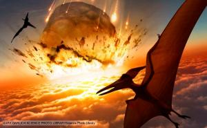 Killer asteroid near the end of the cretaceous 65 million years ago (click to expand or to source).