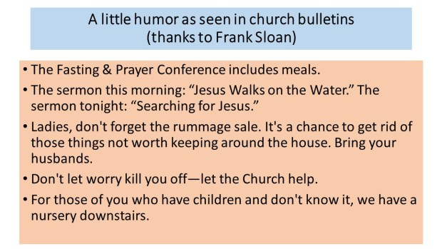 A little humor as seen in church bulletins