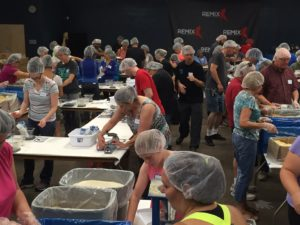 All the hairnet teams in this part of the room.