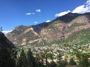 Ouray nestled in the mountains (click to enlarge, then back-arrow to return to blog writeup).