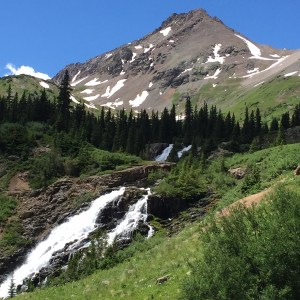 Twin falls and Mt Sneffels (over 14,000 feet) in Yankee Boy Basin.
