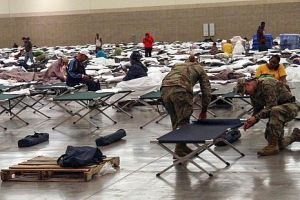 The Baton Rouge River Center serving as a shelter for hundreds of displaced flood victims (click to enlarge or to source, and then back-arrow to return to blog article).