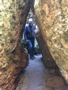 Clive in the slot canyon on the way to Stokes Bay (click to enlarge then back-arrow to return to article).