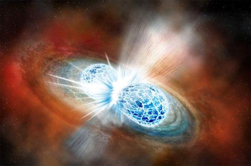 Rendering of the merger of 2 neutron stars