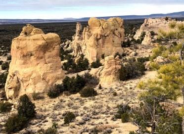 Sandstone bluff cliff with lava rocks