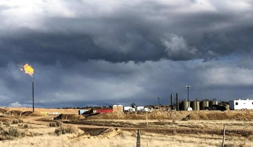 Gas flaring from new-technology oil well in the San Juan basin of New Mexico.