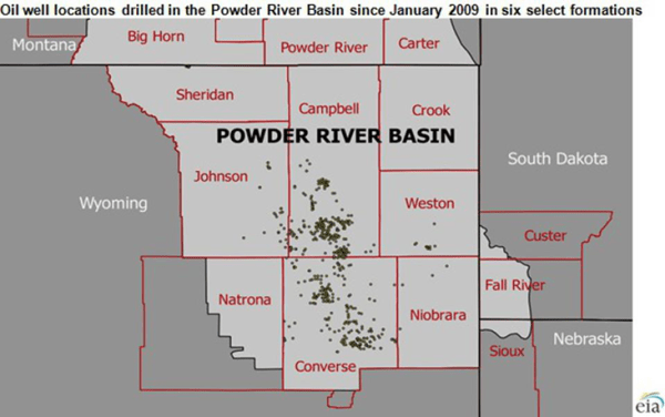 Oil wells in the Powder River basin in Wyoming. Converse County is marked at the bottom.