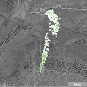 Figure 2. Methane plume from leak in storage tank, almost 1 km long, detected by infrared in aircraft. Source: PNAS