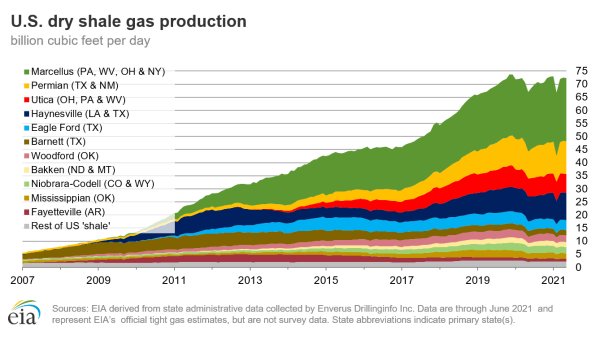Figure 2. Natural gas production from different shale plays in US.