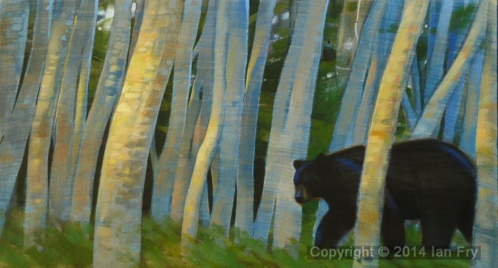 Evening Bear with Alders.            Sold
