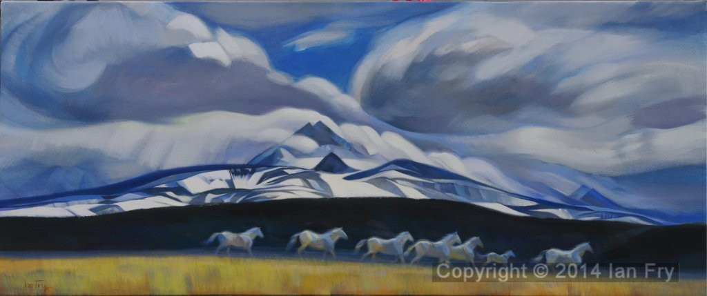 "Pale horses. acrylic on canvas 28x54"".     Sold"