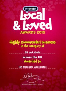 Ian Hardacre Associates  Award as a Highly Commended National Business