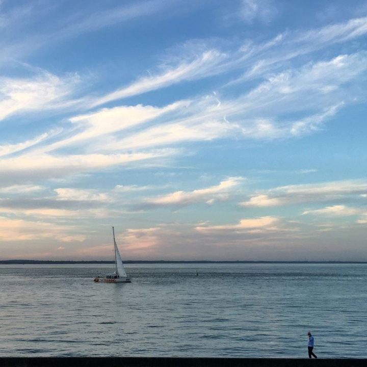 The coastal walk in the evening