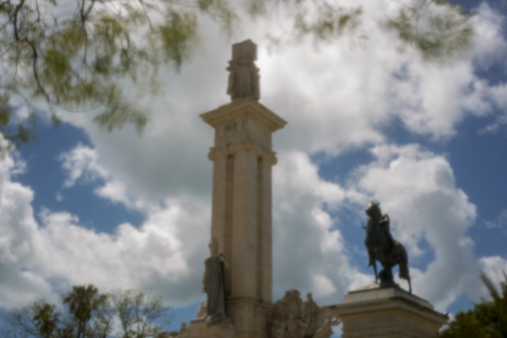 Plaza Espana and the Monument for the Constitution of 1812 on April 29th 2018 for worldwide pinhole day