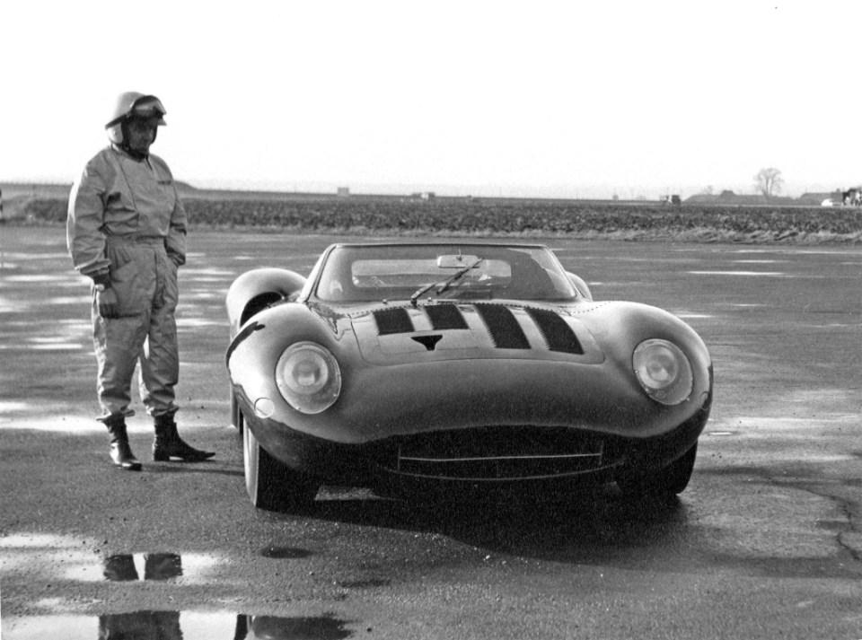 129, Norman Dewis with the original Jaguar XJ13 at MIRA