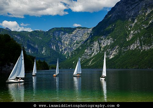 Sailing on Lake Bohinj, Slovenia.