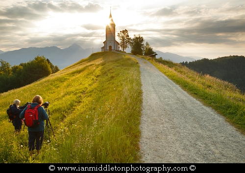 Students at work at Jamnik Church on my Slovenia Photography workshop