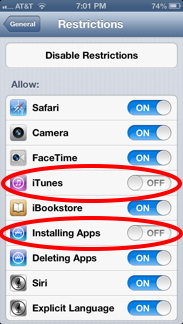 Prevent your kids from purchasing apps on your iphone ianswerguy disable itunes and apps ccuart Image collections