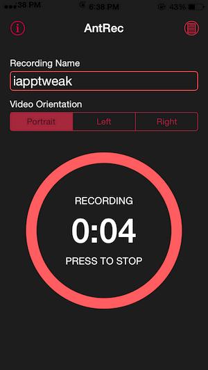 AntRec-Iphone HD screen recorder-cydia-tweak-iapptweak