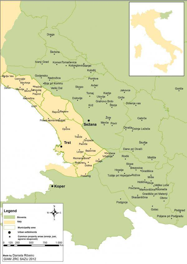 Map of the Karst region and its location in Italy and Slovenia. Map created and copyright by Daniele Ribeiro.